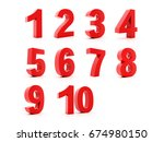 set 3d of figures of red color... | Shutterstock . vector #674980150