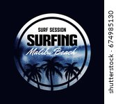 poster about surfing.  dark... | Shutterstock .eps vector #674985130