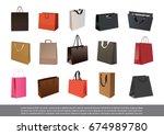 set of empty paper shopping bag | Shutterstock .eps vector #674989780