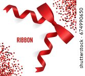 card with red ribbon and bow.... | Shutterstock .eps vector #674990650