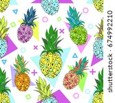 vector seamless pattern with... | Shutterstock .eps vector #674992210