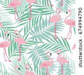 pink flamingo seamless pattern... | Shutterstock .eps vector #674994790