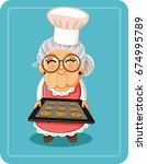 grandma baking chocolate chips... | Shutterstock .eps vector #674995789