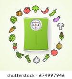 vegetables fresh food and floor ... | Shutterstock .eps vector #674997946