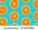 top view  colorful orange fruit ... | Shutterstock . vector #675002884