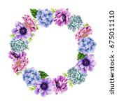 watercolor floral round frame   Shutterstock . vector #675011110