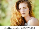 attractive young woman with... | Shutterstock . vector #675020434
