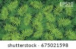 tropical green leaf pattern... | Shutterstock .eps vector #675021598