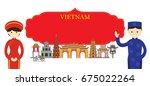 vietnam landmarks and people in ... | Shutterstock .eps vector #675022264