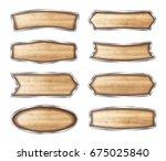wooden signboard vector... | Shutterstock .eps vector #675025840