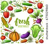 colorful sketch style set of... | Shutterstock . vector #675029860