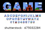 vector of font and alphabet... | Shutterstock .eps vector #675032284