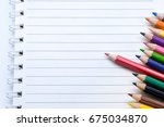 blank notebook with color... | Shutterstock . vector #675034870