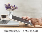 selective focus on hand use... | Shutterstock . vector #675041560