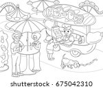 amusement park coloring pages... | Shutterstock .eps vector #675042310