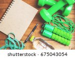 fitness plan concept and... | Shutterstock . vector #675043054