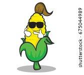 cool face sweet corn character... | Shutterstock .eps vector #675044989