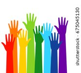colored volunteer crowd hands... | Shutterstock .eps vector #675045130