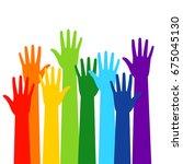 colored volunteer crowd hands...   Shutterstock .eps vector #675045130