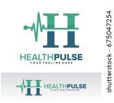 h health pulse letter logo...   Shutterstock .eps vector #675047254