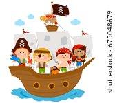 pirate children  boys and girls ...   Shutterstock .eps vector #675048679