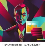 colorful abstract man drinking... | Shutterstock .eps vector #675053254
