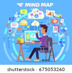 mind map of person who works at ... | Shutterstock .eps vector #675053260
