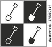 shovel   black and white vector ... | Shutterstock .eps vector #675057619