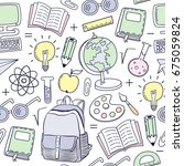 seamless pattern with school...   Shutterstock .eps vector #675059824