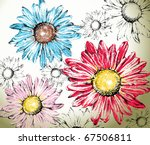 hand drawn flowers background | Shutterstock .eps vector #67506811
