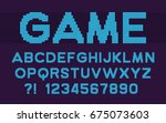 pixel retro font video computer ... | Shutterstock .eps vector #675073603