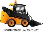 yellow black mini bulldozer... | Shutterstock .eps vector #675074224