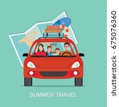 happy family driving in red car ... | Shutterstock .eps vector #675076360
