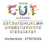 colorful alphabet consisting of ... | Shutterstock .eps vector #675076426
