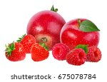strawberry apple raspberry ... | Shutterstock . vector #675078784