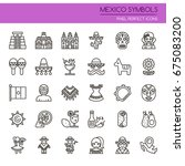 mexico symbols   thin line and... | Shutterstock .eps vector #675083200