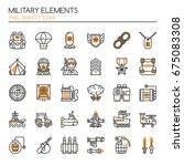 military elements   thin line... | Shutterstock .eps vector #675083308