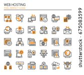 web hosting   thin line and... | Shutterstock .eps vector #675083599
