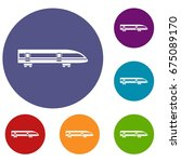 modern high speed train icons... | Shutterstock .eps vector #675089170