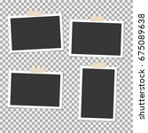 photo frame with sticky tape on ... | Shutterstock .eps vector #675089638