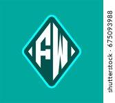 colored monogram logo curved... | Shutterstock .eps vector #675093988