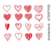 hand drawn hearts icon | Shutterstock .eps vector #675097930