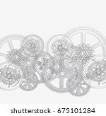drawing gears on a white... | Shutterstock . vector #675101284