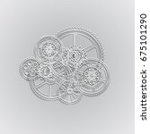 drawing gears on a gray... | Shutterstock . vector #675101290
