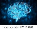 glowing digital blue polygonal... | Shutterstock . vector #675105289