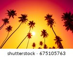 sunset on tropical island beach ... | Shutterstock . vector #675105763