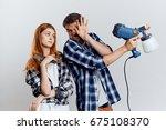 repair  spray gun  young couple ... | Shutterstock . vector #675108370