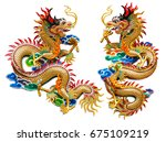 Chinese Golden Dragon Statue...