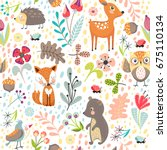 Stock vector seamless pattern with cute cartoon forest animals on white background different plants children s 675110134
