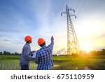 electrical engineer working.... | Shutterstock . vector #675110959